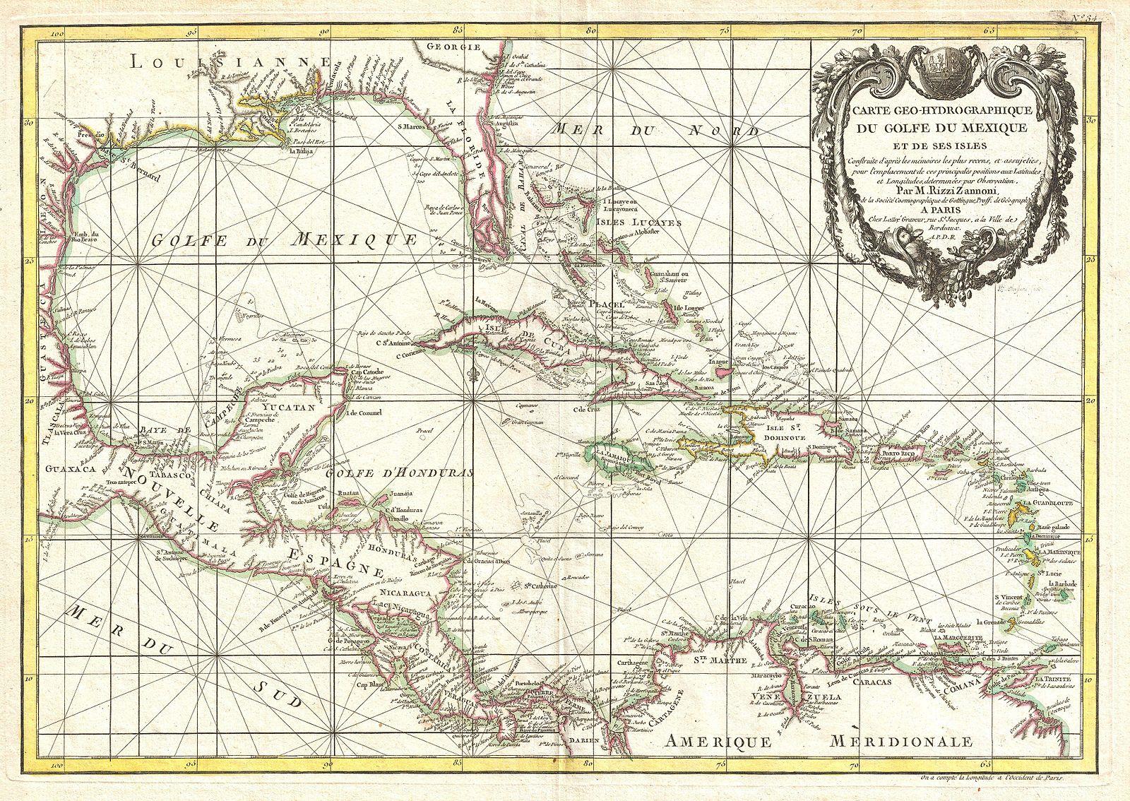 alte Karte der Karibik