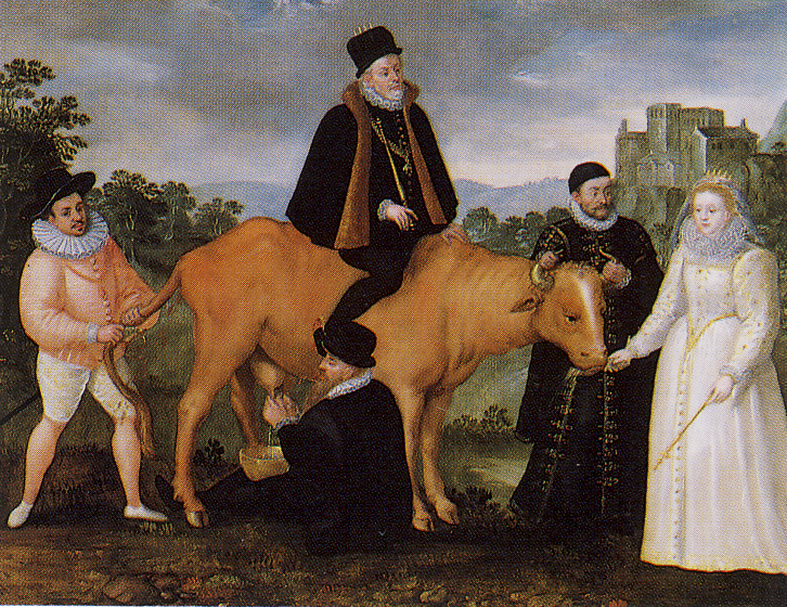Queen Elizabeth I Feeds the Dutch Cow. Oil on panel, 39.4 × 49.5, artist unknown.