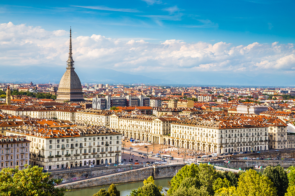 View of Turin city centre with landmark of Mole Antonelliana-Turin,Italy,Europe